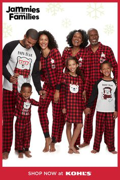Family PJS Baby Boys//Girls Bearly Awake Buffalo Check 1-Pc Footed Pajamas 2T-3T