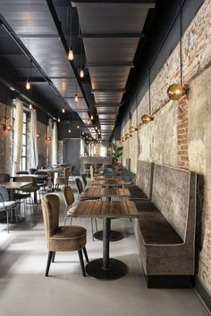 Some Inspirations from the Best Restaurant Designs in New York – Living Ro. : Some Inspirations from the Best Restaurant Designs in New York – Living Room Cozy Döner Restaurant, Restaurant Lighting, Restaurant Concept, Restaurant Banquette, Restaurant Vintage, Industrial Interior Design, Restaurant Interior Design, Bistro Interior, Contemporary Interior