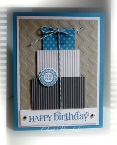 """Curly Cute Masculine """"Happy Birthday"""" Card...by Chat: Me, My Stamps and I."""