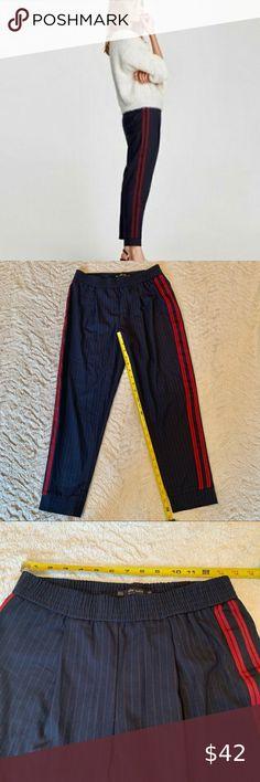 Ladies Spring Autumn Long Pants Grid Stripe Print The Belt Wide Leg Trousers DS