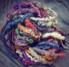 Handspun Yarn / Hand dyed Art Yarn - Coil wrapped hand spun yarn Merino, Mohair…