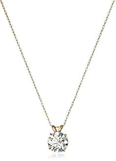 10k Gold Necklace with Solitaire Swarovski Zirconia Pendant (two cttw), eighteen""