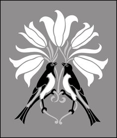 Birds and flowers - arts and crafts - Motif No 35 stencil