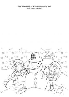 christmas colouring card building a snowman