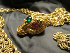 Bejeweled Ram's Head Gold Tone Belt by DresdenCreations on Etsy, $45.00