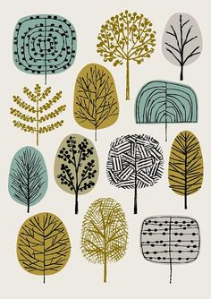 Types of Trees is a print that adds to my growing range of tree-inspired images, with a colour palette reflecting my current preferences and