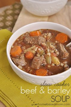 This slow cooker beef and barley soup is a nice, hearty soup for the cooler fall and winter months