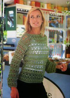 ❤ ✿ Mi Rincón del Tejido ✿ ❤: Suéter verde tejido a crochet paso a paso