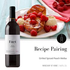 Sweet summer peaches, raspberries and vanilla ice cream pair perfectly with Fact 2016 Blush. Recipe in the Lifestyle section of my website! Wine Recipes, Great Recipes, Wine Shop At Home, Peach Melba, Food Gift Baskets, Wine Food, Grilled Peaches, Wine Pairings, Enjoying Life