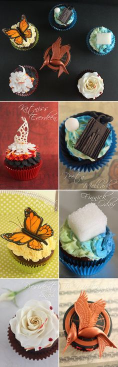 Catching Fire Cupcakes <-- I want the one with Peeta's necklace and the pearl he gave Katniss :3