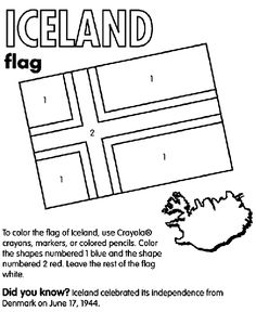 use crayola crayons colored pencils or markers to color the flag of iceland color the shapes numbered 1 blue and the shape numbered 2 red