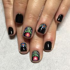 "135 Likes, 9 Comments - Danielle L. (@10thstorynails) on Instagram: ""Polish folk art flowers for Tracey on my new favorite black: @cucciocolour #2aminhollywood"""