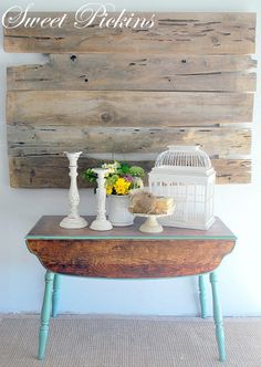 I love this table available from Sweet Pickins -- such a great look with the wood and the blue/green.