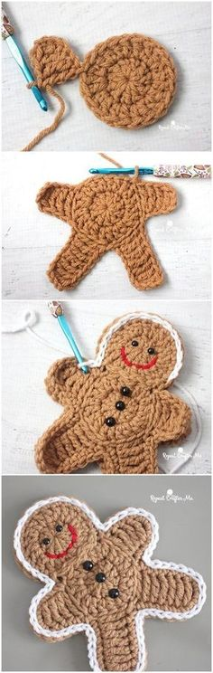 Häkeln Sie Lebkuchenmann – The Effective Pictures We Offer You About Knitting Pattern poncho A quality picture can tell you many things. You can find the most beautiful pictures that can be presented Christmas Crochet Patterns, Crochet Christmas Ornaments, Holiday Crochet, Christmas Knitting, Crochet Gifts, Crochet Toys, Free Crochet, Knit Crochet, Christmas Crafts