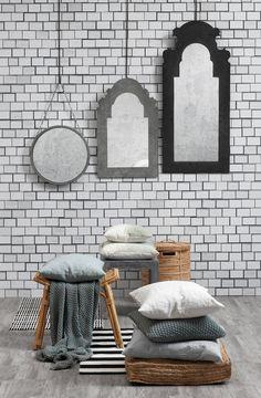 SPRING / SUMMER 2015, Lene Bjerre Design, ABIANA COLL. Throw & cushions, FIOLA COLL. Mirrors, NELLIE COLL. Mirror,  CLARA COLL. Stool, ALEXIA COLL. Basket, ALESSIA COLL. Floor cushion, RILENE COLL. cushions & RUG COLL. rugs