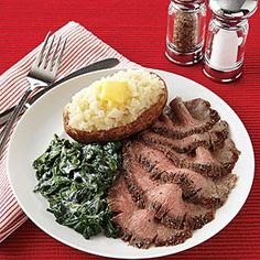 Pepper-Crusted Flank Steak | 1 1 1/2-lb. flank steak $ 1 teaspoon salt $ 1 tablespoon black pepper $ 1 tablespoon olive oil $ Can serve with lemony cooked spinach and a garlic baked potato with butter!