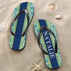 a86d8e324073bb Nautical Link Personalized Flip Flop Sandals -  24.95 from PMall  Nautical  Nautical Pattern
