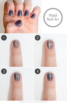Plaid can be done in many colors—you can even use different hues of the same color for a more conservative look—so feel free to sub in your favorite colors for this easy nail art look.
