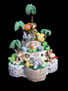 The Ultimate 4 Tier Safari Themed Diaper Cake for by babyblossomco, $400.00