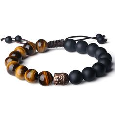 AmorWing 10mm Natural Tiger Eye and Matte Onyx Buddhist Prayer Bead Bracelet Adjustable Size. Measure: Adjustable from 6.5 in. to 9 in.; Each bead: 10mm. Tiger Eye: Protection-Clear thinking-Personal empowerment-Integrity-Willpower-Practicality-Grounding-Power-Courage-Grace. Onyx: Strength-Stamina - Constancy - Permanence - Firmness - Durability - Self-control. Great Praying Jewelry. Gemstones, Crystals and Minerals are Natural Energy Conductors and help you amplify, transform, activate...
