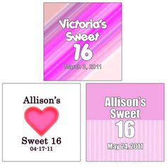 """20 Personalized Square Sweet 16 Labels (1.75"""" x 1.75) - WrapWithUs Wedding Favors"""