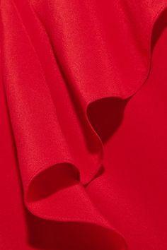 Diane von Furstenberg - One-shoulder Ruffled Silk Crepe De Chine Blouse - Red - US10