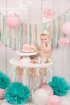 Cake Smash Set, Shabby Chic Highchair Banner, 3 ft banner AND Birthday Hat/ photo prop CHOOSE COLORS