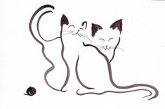 Black ink painting by Bianca Xu Cat Drawing, Line Drawing, Silkscreen, Cat Quilt, Cat Silhouette, Cat Crafts, Cat Tattoo, Crazy Cats, Rock Art
