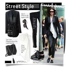 """""""Street Style: Kendall Jenner"""" by hamaly ❤ liked on Polyvore featuring Victoria Beckham, Etienne Marcel, Manolo Blahnik, BLK DNM, Yves Saint Laurent, Stella & Dot, kendalljenner and happybirthday"""