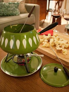 """Catherineholm fondue pot in the typical avacado green of the and love it. """"Christmas Eve - Fondue for two"""" photo by Viviana Agostinho Vintage Dishes, Vintage Glassware, Vintage Kitchen, Vintage Cooking, Palm Springs, Fondue Party, 70s Party, Oldies But Goodies, I Remember When"""