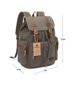 d26bab15f671 Canvas Vintage Backpack Leather Trim Casual Bookbag Men Women Laptop Travel  Rucksack - Green - C4127KXNERH. Luggage ...