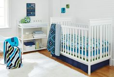 This colorful, chic crib bedding from Jonathan Adler's Happy Chic Baby Line (@NoJo) is ALL-BOY! #nursery #babyboy #crib