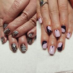 Lovely mom and daughter appointment for these throw back animal print color blocks and purple yin-yang inspired design.  #nails #nailart #naildesign #glitter #handpainted #gelpolish #gelish #ibd #opi #trugel #animalprint #cheetah #giraffe #tiger #yinyang #nailtech # nail artist #naturalnails