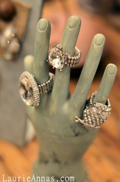 LaurieAnna's Vintage Home Jewelry Display... Love these rings! <3