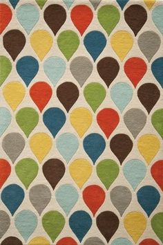 mid century modern carpeting - use as color palette  (red, orange, yellow, baby blue, grey, green)