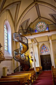 You'll see this gorgeous staircase when you visit Santa Fe, New Mexico. Loretto Chapel, Santa Fe, New Mexico,  former Roman Catholic church that is now used as a museum and wedding chapel