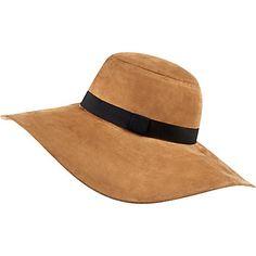 Beige faux suede floppy fedora hat