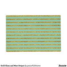Gold Glam and Mint Stripes Laminated Placemat