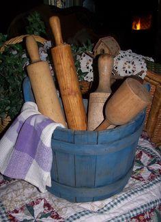 Old Primitive Wood Painted half Bucket Maine Made Find Reseller #NaivePrimitive