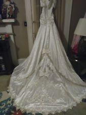 Vintage 1980's Mori Lee Pearl Crystal Disney Wedding Dress-Long Train-Sz. 12