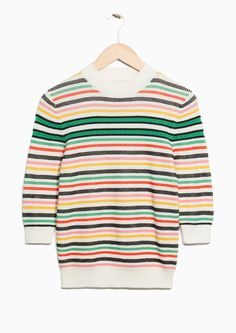 & Other Stories image 1 of Organic Cotton Multi-Stripe Sweater in Off white