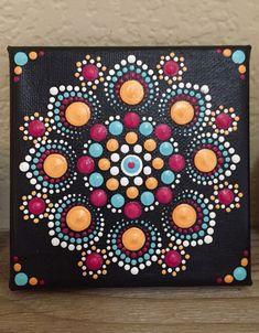 Hand painted mandela stone in. Zen Painting, Mandalas Painting, Mandalas Drawing, Dot Art Painting, Painting Patterns, Stone Painting, Art Paintings, Happy Paintings, Mandala Canvas