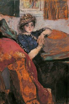 Mlle Nathanson in the Artist's Studio (The Model on a Sofa or Mlle Grandidier) c.1912 Edouard Vuillard Oil on board ART UK