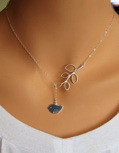 Sparrow and Branch lariat necklace in STERLING by RoyalGoldGifts