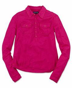 Ralph Lauren Kids Shirt, Girls Long-Sleeve Cargo Pocket Knit Shirt