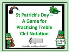 Practice the absolute pitch names of the treble clef lines and spaces in this St Patrick's Day themed game.   This pack includes 2 games:  Game One includes both middle C and D below and G above the stave.  Game Two uses only the notes located in the 5 lines and or 4 spaces.