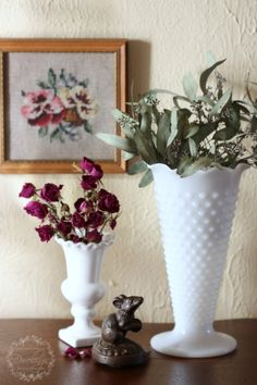 When the Flowers Fade ~ Dried roses and seeded eucalyptus vignette in the hallway....