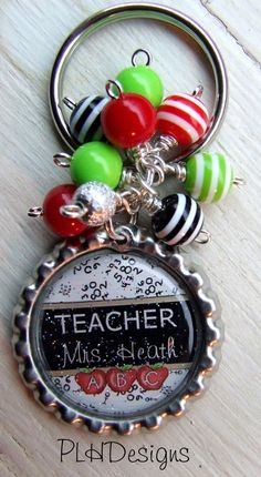 Teacher  Personalized  Beaded Bottle Cap Key Chain  by PLHDesigns, $8.00