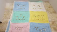 Sweet Owl Baby blanket, crocheted, knitted vintage, 1980s by RandomGoodsVintage on Etsy