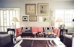 #home-decor, #living-room, #gallery-wall, #sofa, #artwork, #pink  Photo: Lonny - www.lonny.com/photos/Living+Room/57qui8mrrSY  View entire slideshow: Pink Decor We Adore on http://www.stylemepretty.com/collection/1026/